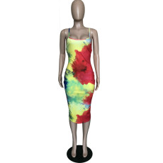 Tie Dye Print Cross Strap Backless Slim Midi Dress BGN-N058