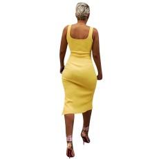 Solid Sleeveless Split Slim Fit Midi Dress YN-9065