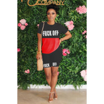 Letter Print Patchwork Casual Two Piece Shorts Set ORY-5153