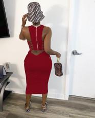 Sexy Sleeveless Backless Ruched Slim Midi Dress JH-H152