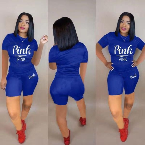 Plus Size New Pink Printing Fashion Casual Two Piece Set LP-6207