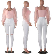 Sexy Backless Mesh Sleeve Pink Tops MOF-8810