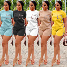 Casual Solid T Shirt Shorts Two Piece Sets HM-6305