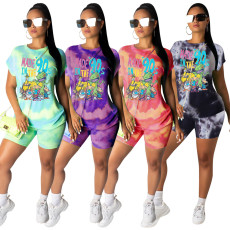 Cartoon Tie Dye Print Casual Two Piece Shorts Set YS-8531