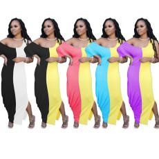 Plus Size Contrast Color Casual Irregular Maxi Dress TR-1018