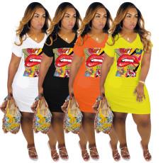 Cartoon Lips Print V Neck T Shirt Dress YN-083