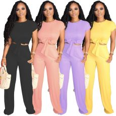 Solid Short Sleeve Two Piece Pants Set YS-8319