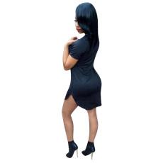 Black Letter Print Short Sleeve Mini Dress HGL-1331