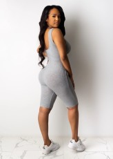 Solid Knitted Sleeveless Bodycon Playsuit TR-1016