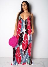 Leaves Print Big Swing Spasghetti Strap Maxi Dress TR-1019