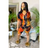 Tie Dye Print V Neck Two Piece Shorts Set With Mask OSM-6086