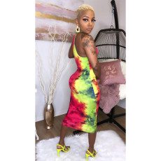 Sexy Tie Dye Print Sleeveless Slim Midi Dress YF-K9650