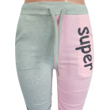 Slim Folds Two-color Stitching Letter Printed Casual Pants OYF-8188