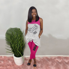 Pink Letter Print Striped Sleeveless 2 Piece Pants Set Plus Size HGL-1330