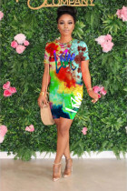 Tie Dye Letter Print Casual Two Piece Shorts Set WY-6673