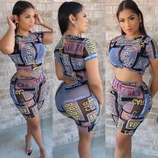 Popular Letter Printed Mesh Two Piece Set NIK-102