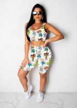 Cartoon Print Sleeveless Casual Two Piece Shorts Set CM-734