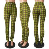 Casual Plaid Print Stacked Skinny Long Pants CM-731
