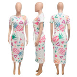 Fashion Fruit Print Midi Dress NIK-116