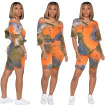 Tie Dye Print V Neck T Shirt And Shorts 2 Piece Sets SH-3763