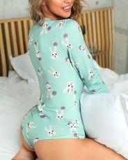 Casual Printed Long Sleeve Slepwear Bodysuit SFY-121