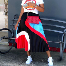 Contrast Color Pleated A-Line Midi Skirt AIL-095