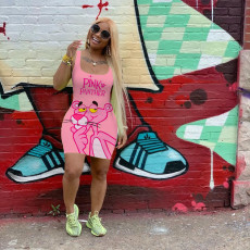 Pink Panther Print Cartoon Vest Dress MIL-104