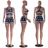Sexy Printed Tank Top Shorts Fitness Two Piece Set MOF-5162