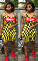 Plaid Letter Print Spaghetti Strap One Piece Rompers LM-8146