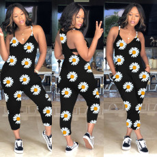 Plus Size Little Daisy Suspenders Print Jumpsuit MA-326