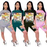Cartoon Print T Shirt Shorts Two Piece Suit SHA-H6140