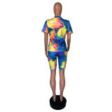 Plus Size Tie Dye Print Two Piece Shorts Set With Mask GS-1815
