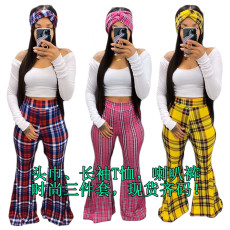 Trendy Plaid Flared Pant+T Shirt+HeadScarf 3 Piece Sets YIY-5167