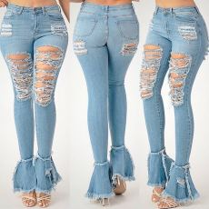 Trendy Denim Ripped Holes Flared Jeans Pants OD-8354