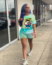 Plus Size Tie Dye Cartoon Print Casual 2 Piece Sets SHD-9247