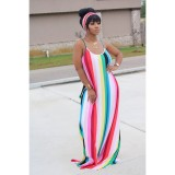 Colorful Stripe Casual Loose Slip Maxi Dress With Headscarf YIM-8109