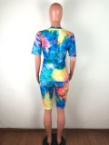 Tie-dyed Round Neck T Shirt Shorts Suit (including mask) OSM-6088