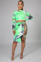 Sexy Tie Dye Print Crop Top+Lace Up Skirt Sets MIL-105