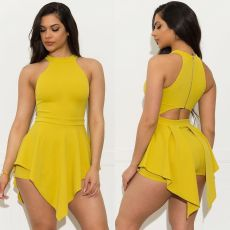 Plus Size Solid Sleeveless Sexy Irregular Rompers YH-5147