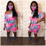 Copy Tie Dye Print V Neck Two Piece Shorts Set With Mask OSM-6086