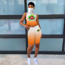 Gradient One Piece Mask Tank Top+Shorts 2 Piece Sets OYF-8197