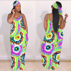 Tie Dye Print Sleeveless Maxi Slip Dress With Headscarf OYF-8195