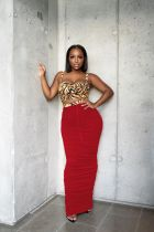 Solid High Waist Ruched Sexy Slim Long Skirt SMD-2027
