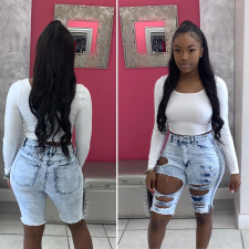High-waist ripped sexy denim shorts LA-3178