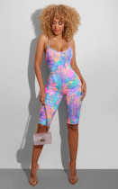 Tie Dye Print Backless Cross Strap Skinny Playsuit BS-1186