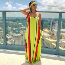 Colorful Stripe Loose Maxi Slip Dress With Headscarf BS-1187