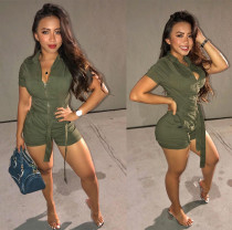 Solid Cargo Shorts Zipper Sashes Casual Playsuit OD-8352