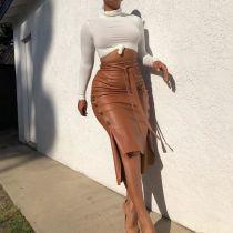 Brown Sexy Split Mid-length Slim Strappy Skirt LSL-6347