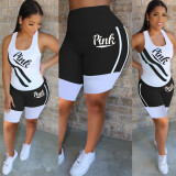 Pink Letter Print Tank Top Shorts 2 Piece Sets Plus Size MTY-6301