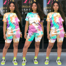 Plus Size Printed T Shirt Shorts Two Piece Suit TE-4031
